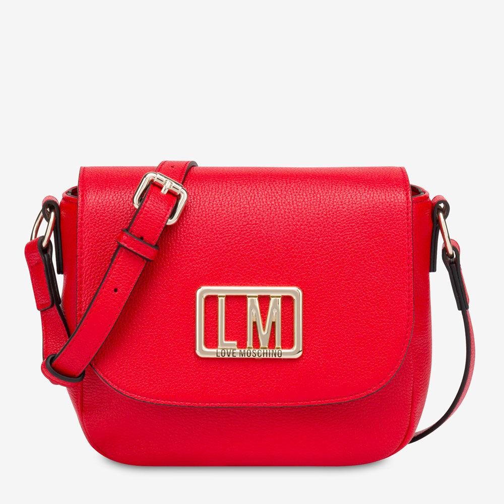 Moschino Borsa Donna a Tracolla con Pattina con Logo LM Rosso