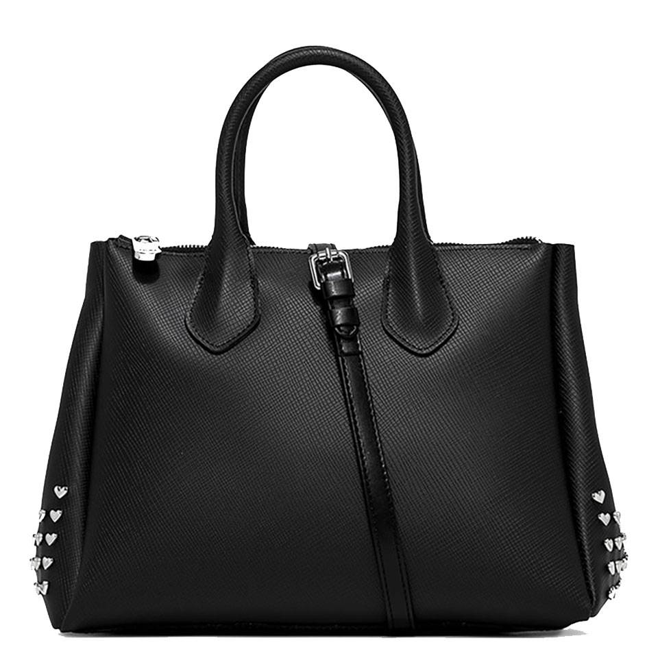 Gum Borsa Donna a Mano Fourty Media linea Studheart colore Nero con Borchie Nikel