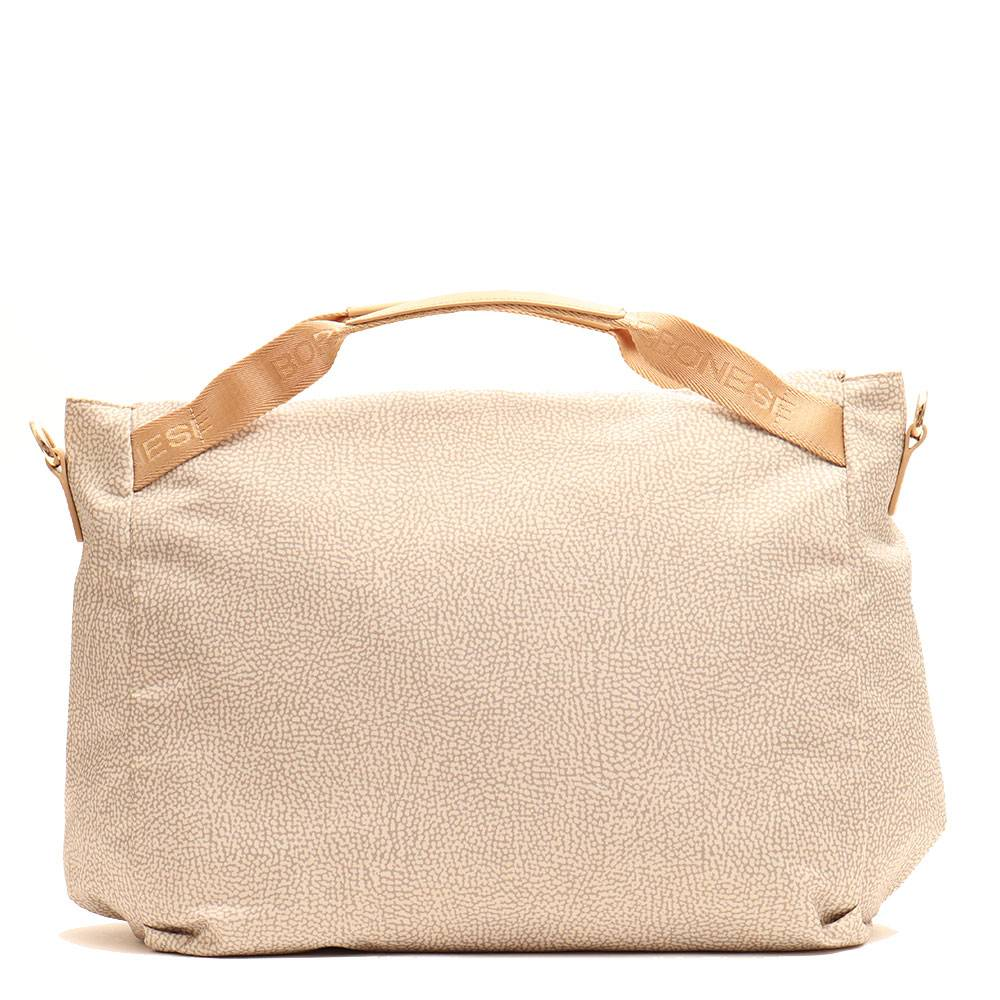 borbonese Borsa Donna a Mano Large in Tessuto linea Jet Op Colore Beige