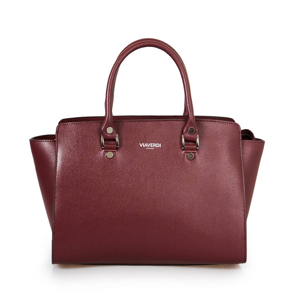 ViaVerdi Borsa Donna a Mano in Pelle Bordeaux stampa Saffiano Made in Italy