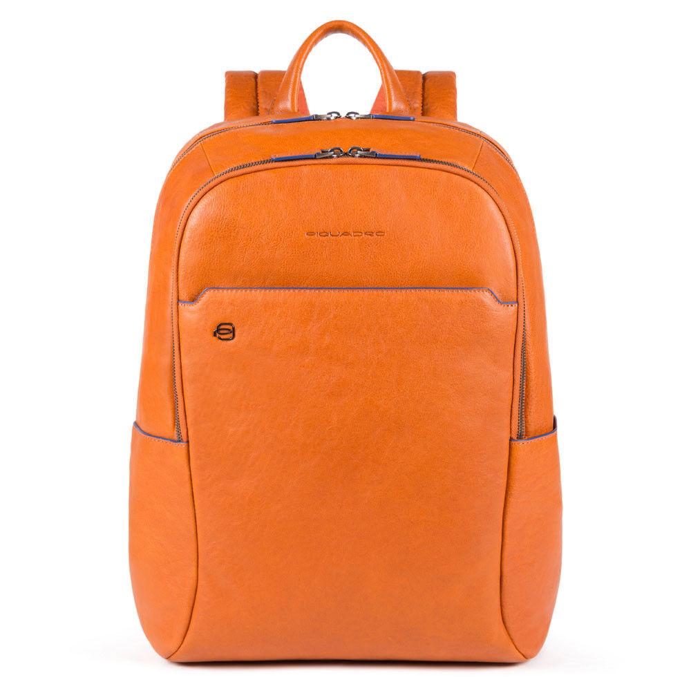 """Piquadro Zaino Porta Pc 15,6"""" linea B2S in Pelle Arancione CA4762B2S"""