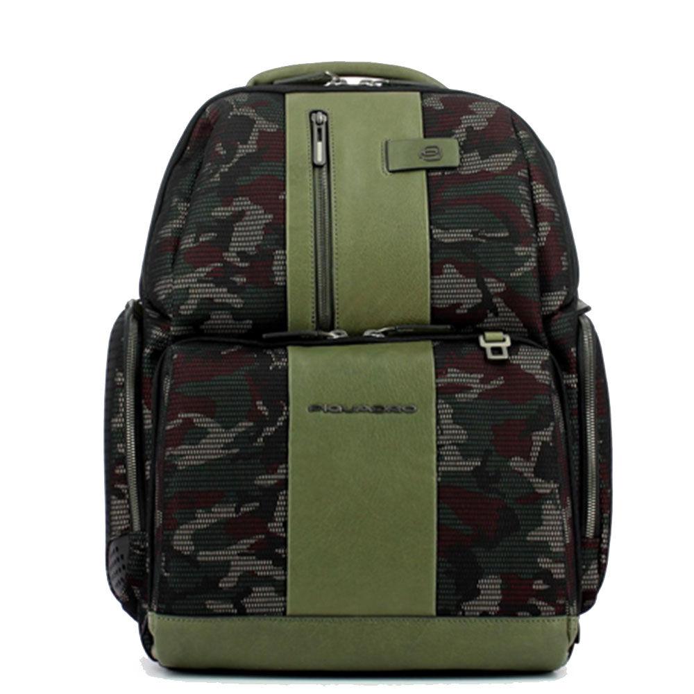 """Piquadro Zaino Porta Pc 15,6"""" linea Brief in Tessuto e Pelle Camouflage Verde CA4532BR"""