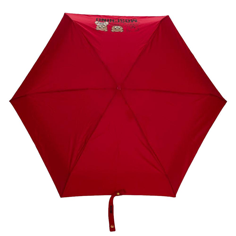 moschino ombrello mini con orso portachiavi colore rosso