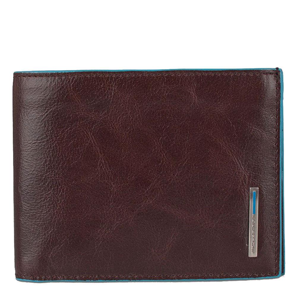 piquadro portafoglio uomo con portamonete in pelle mogano pu257b2 linea blue square