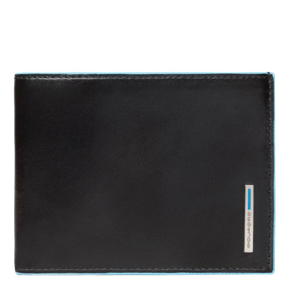 piquadro portafoglio uomo con portamonete in pelle nero pu257b2 linea blue square