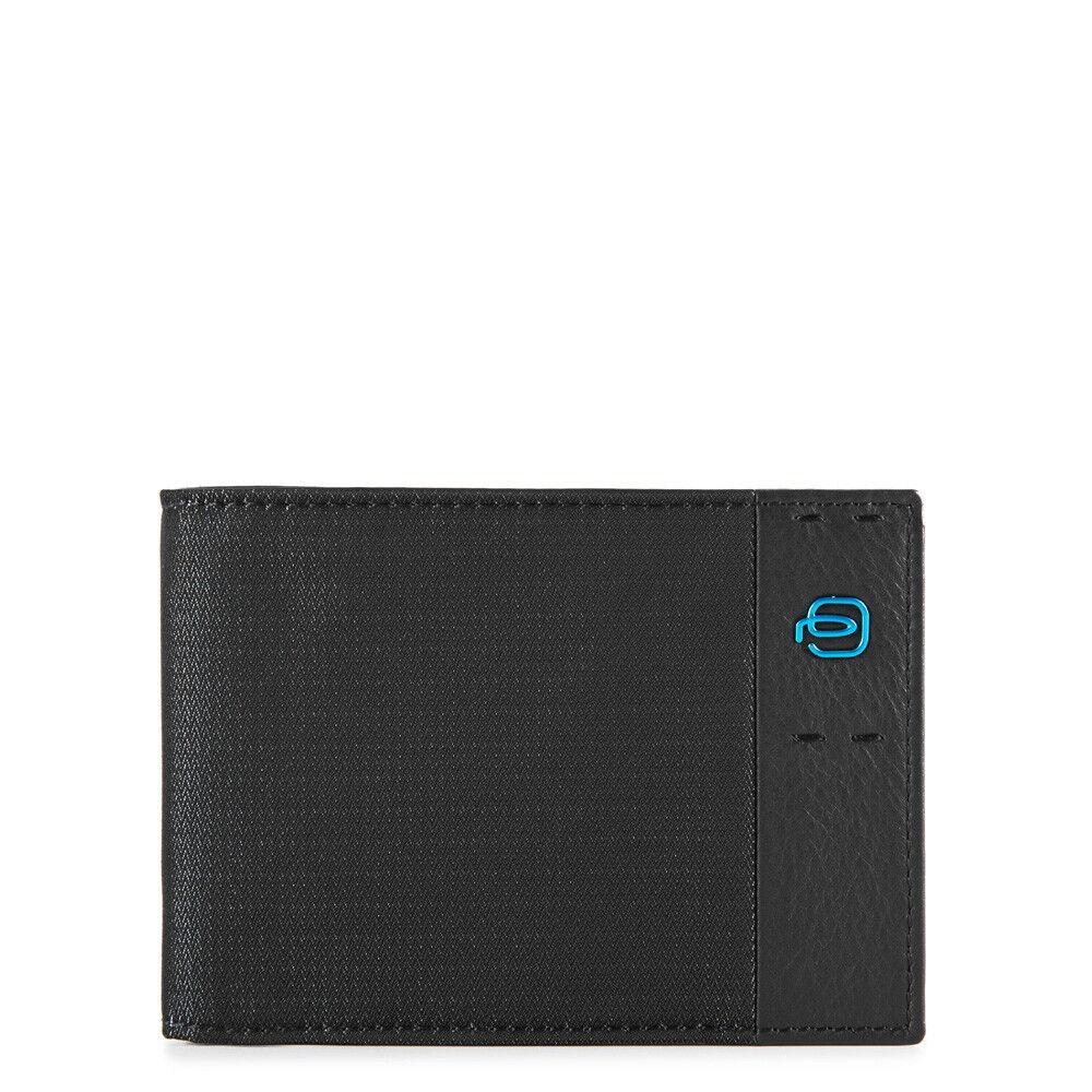 piquadro portafoglio uomo con portamonete in pelle chevron nero pu257p16