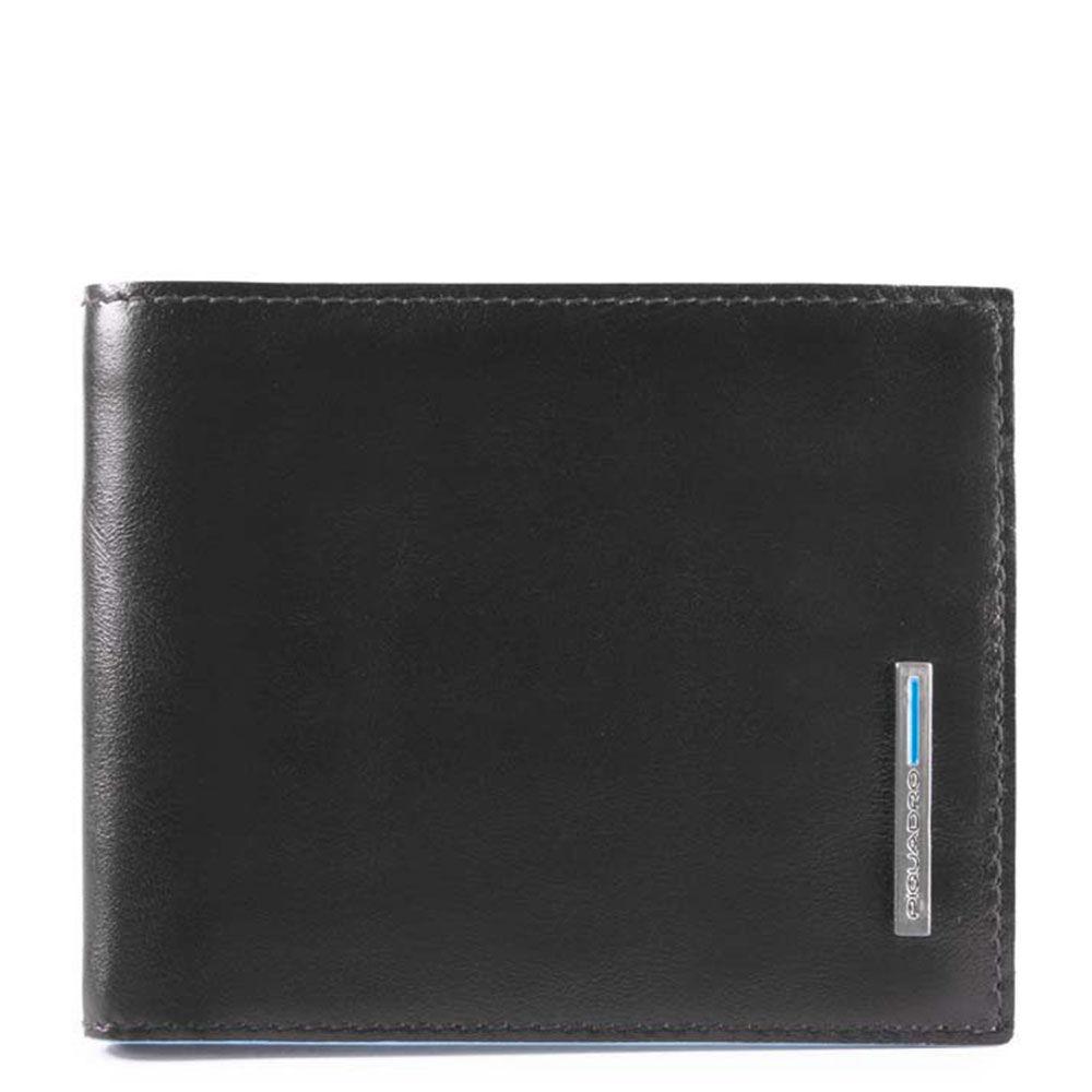 piquadro portafoglio uomo in pelle nera con pattina e portamonete pu4518b2r linea blue square