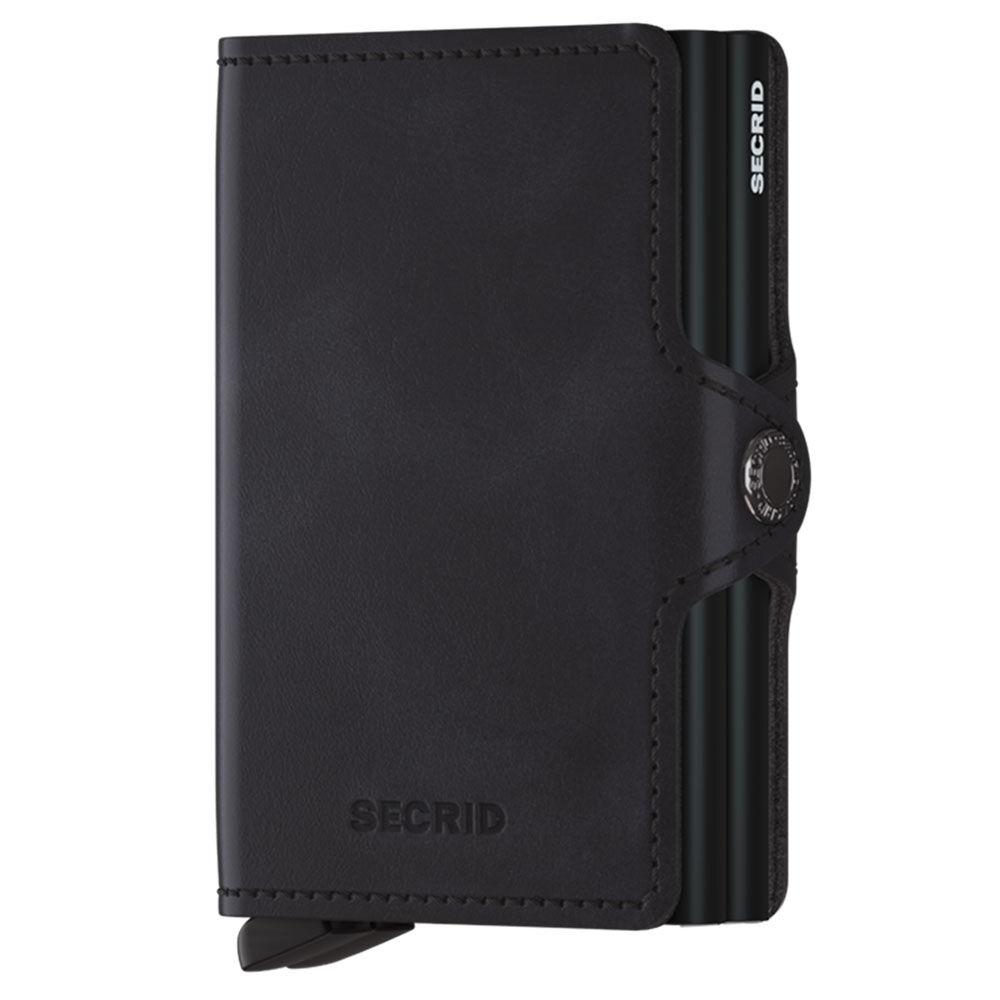 secrid porta carte doppio scomparto con clip linea vintage in pelle nera con rfid
