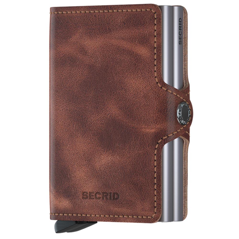 secrid porta carte doppio scomparto con clip linea vintage in pelle cognac-silver con rfid