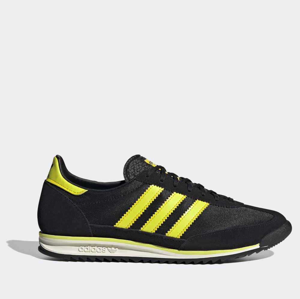 adidas scarpe sneakers linea sl 72 colore nero e giallo acido