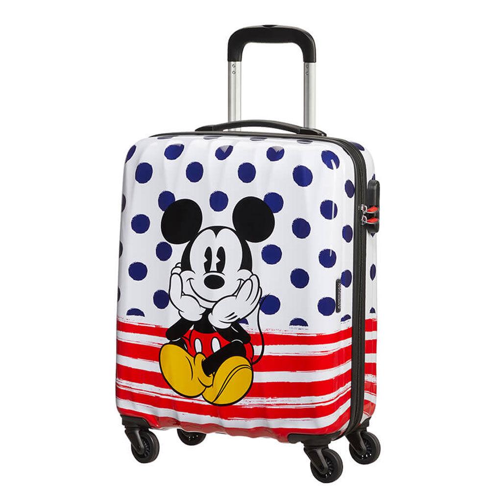 American Tourister Trolley Cabina 55cm 4 Ruote Leggero 2,6kg Disney Mickey Blue Dots
