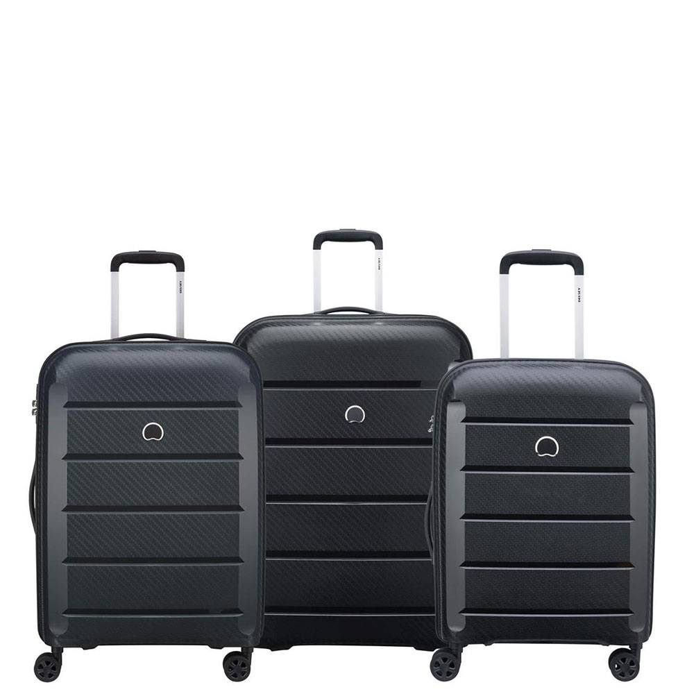 Delsey Set 3 Trolley Grande Medio Cabina 4 Ruote Rigido -  Binalong Nero