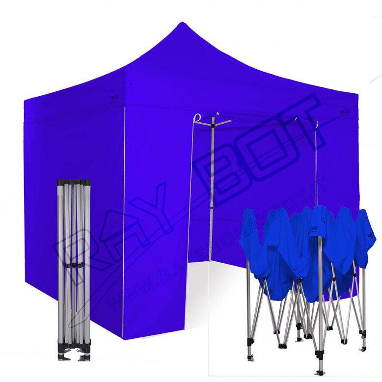 ray bot Gazebo pieghevole 3x3 blu Exa 45mm TOP alluminio con laterali. PVC 350g