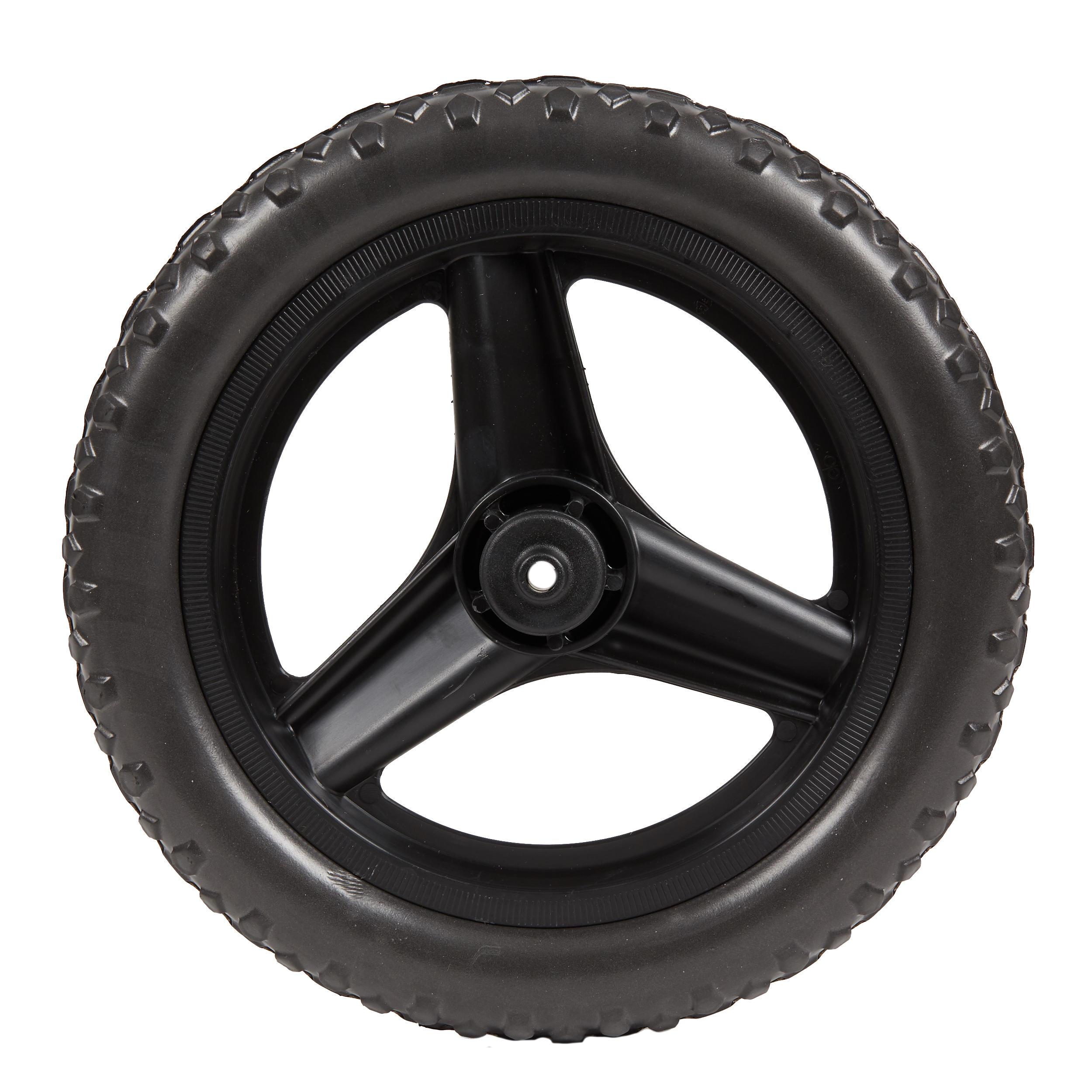 btwin ruota 10 pollici posteriore bici senza pedali runride nera con pneumatico nero.
