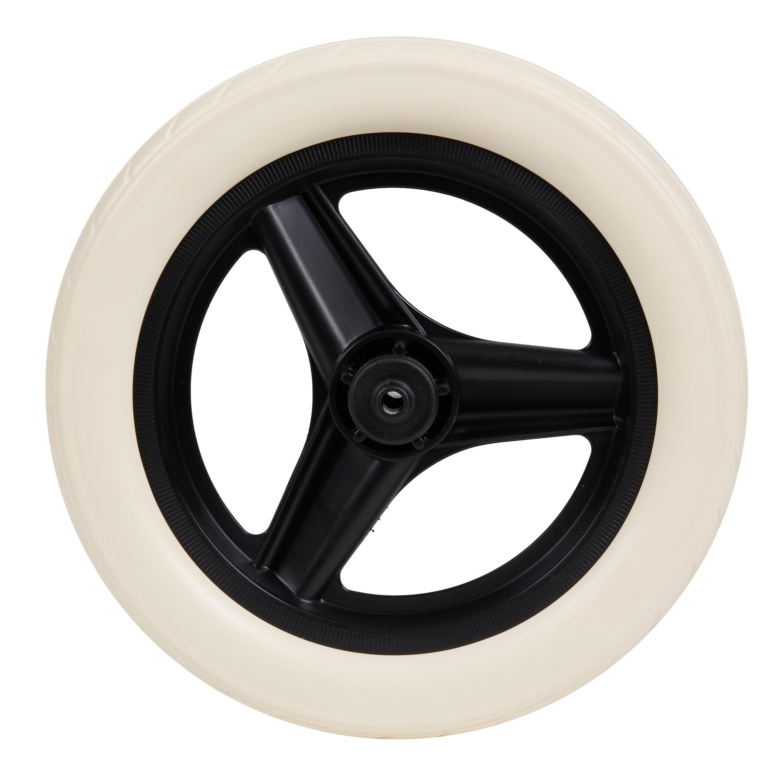 btwin ruota 10 pollici posteriore bici senza pedali runride nera con pneumatico bianco