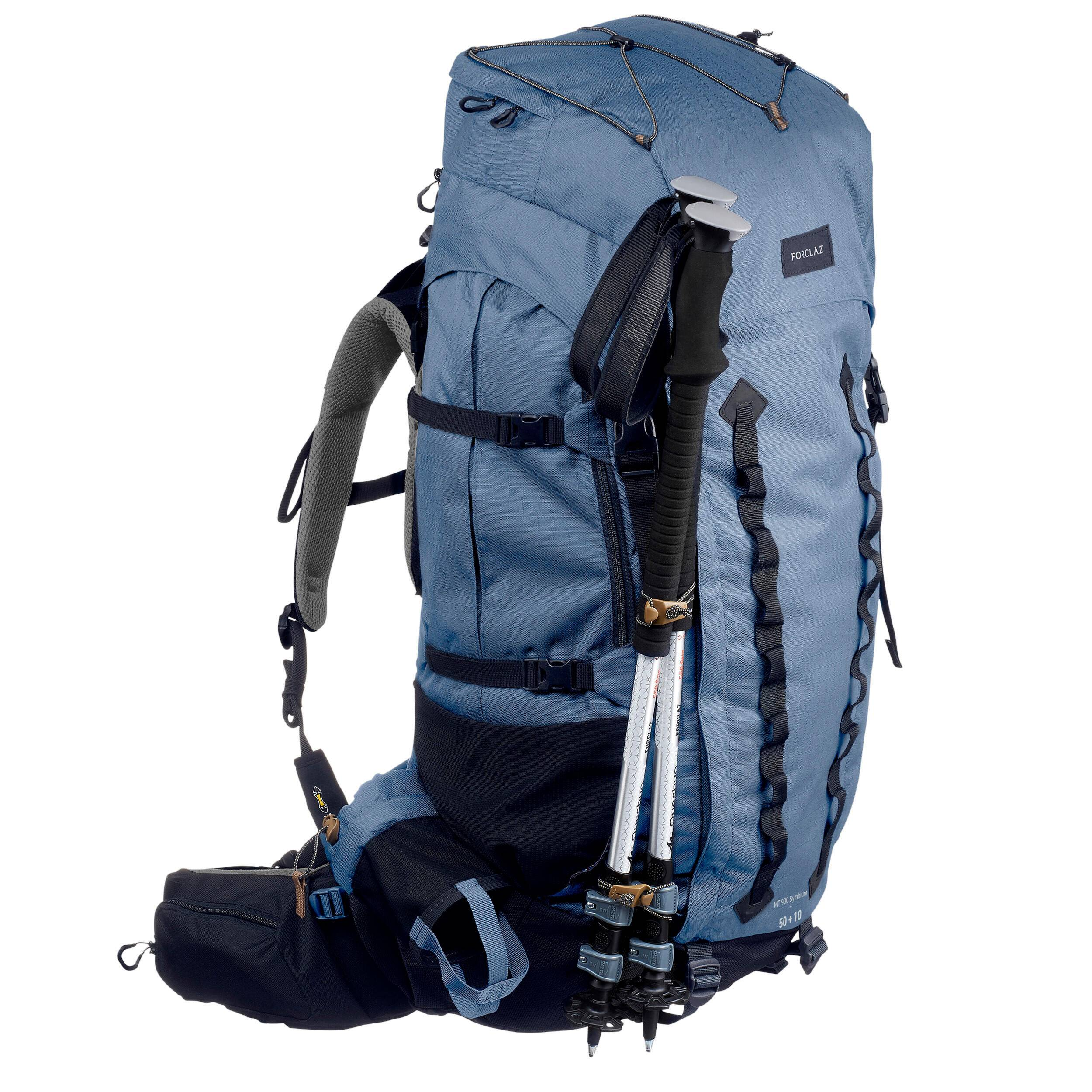 forclaz zaino trekking donna trek 900 symbium 50+10l grigio azzurro