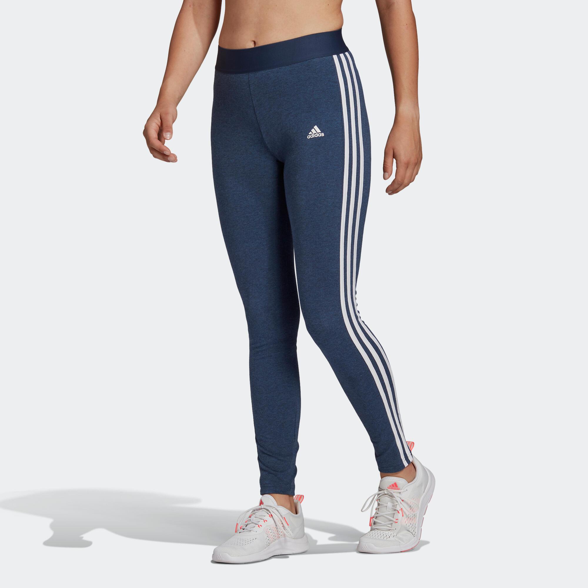 Adidas Leggings donna  3 stripes cotone blu melange e bianco