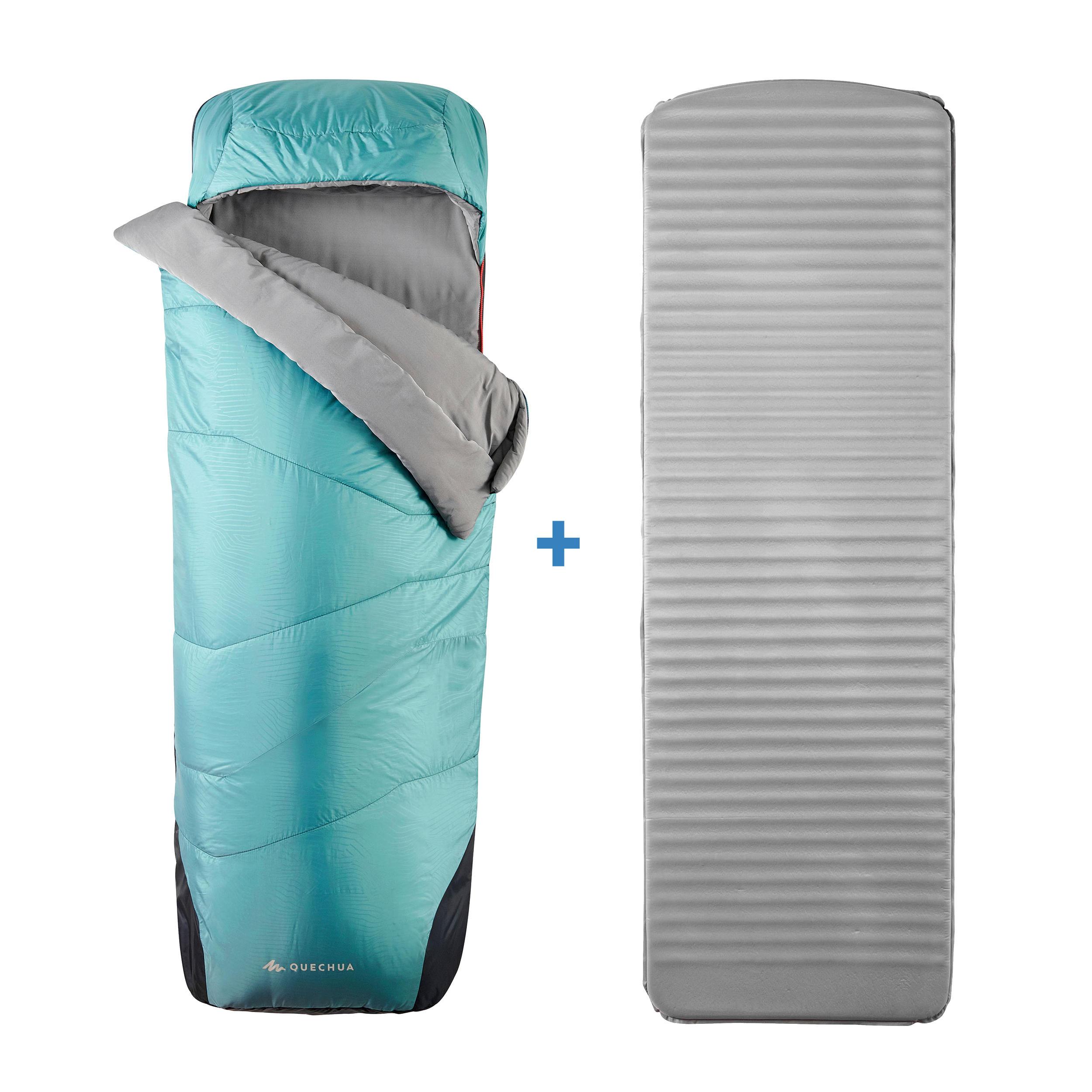 quechua sacco a pelo 2 in 1 campeggio sleepin'bed mh500 5°c xl azzurro