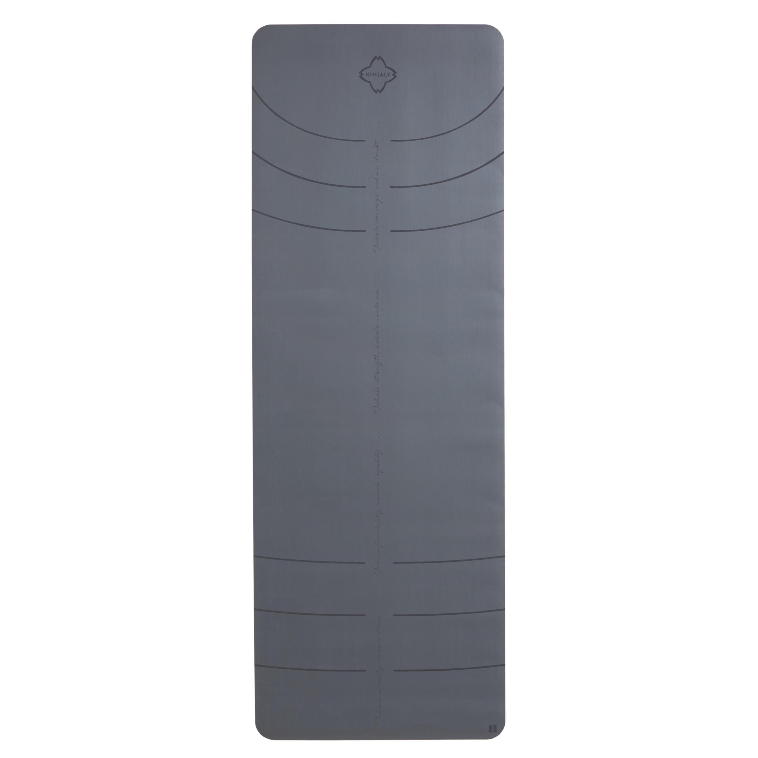 kimjaly tappetino yoga grip+ 5mm grigio 185x65 cm