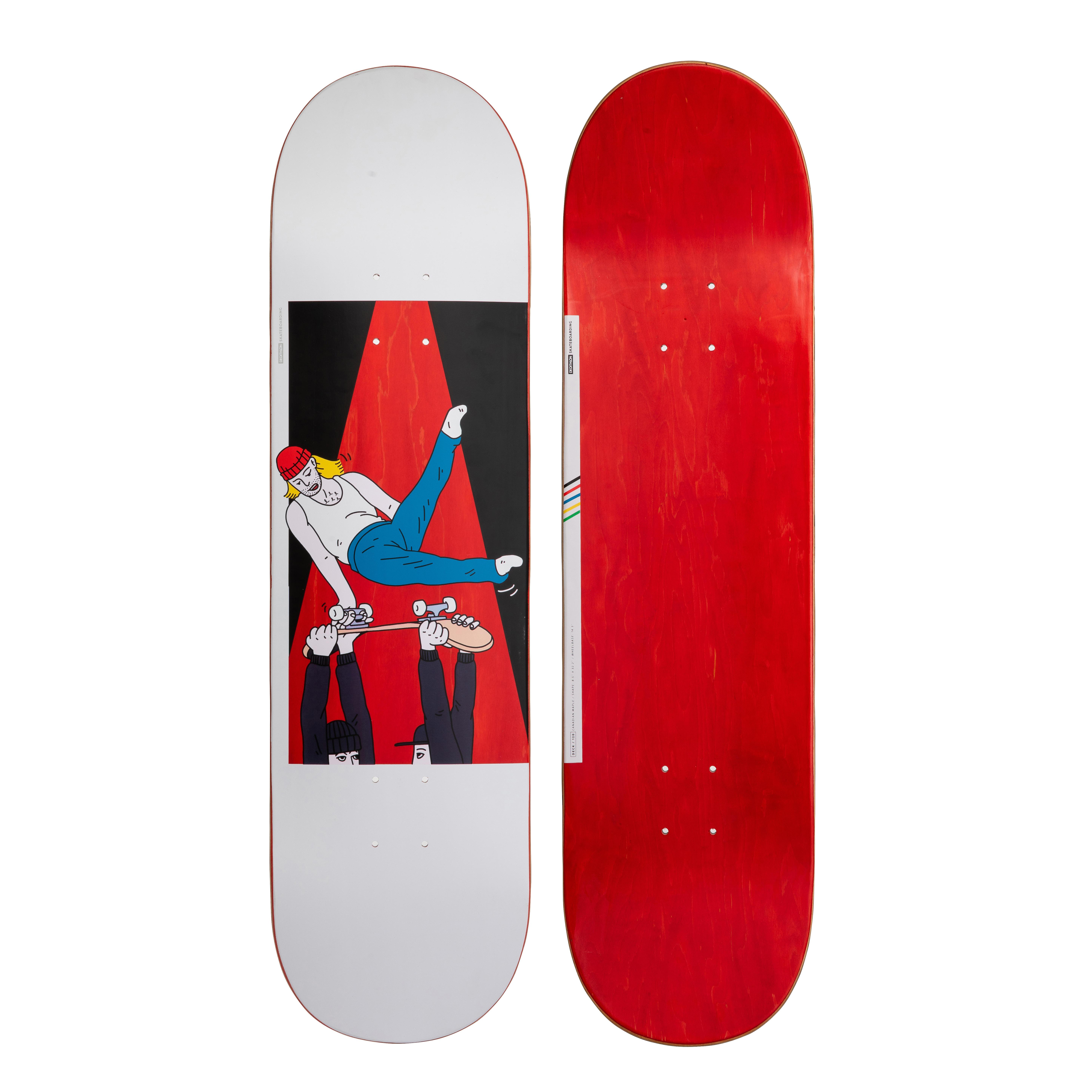 "oxelo skateboard deck 120 bruce 8.5"" rossa"