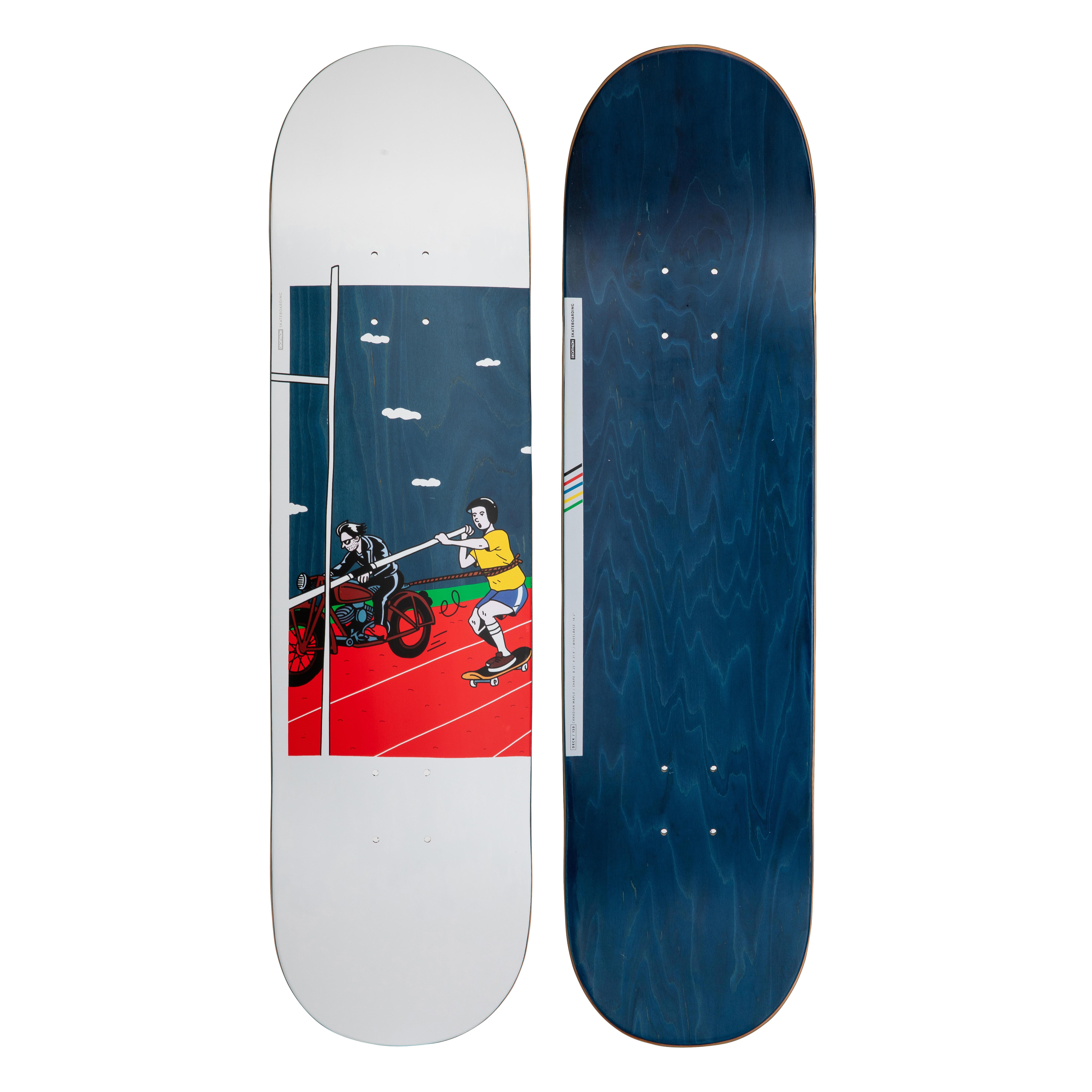 """oxelo skateboard deck 120 bruce 8.25"""" azzurro"""