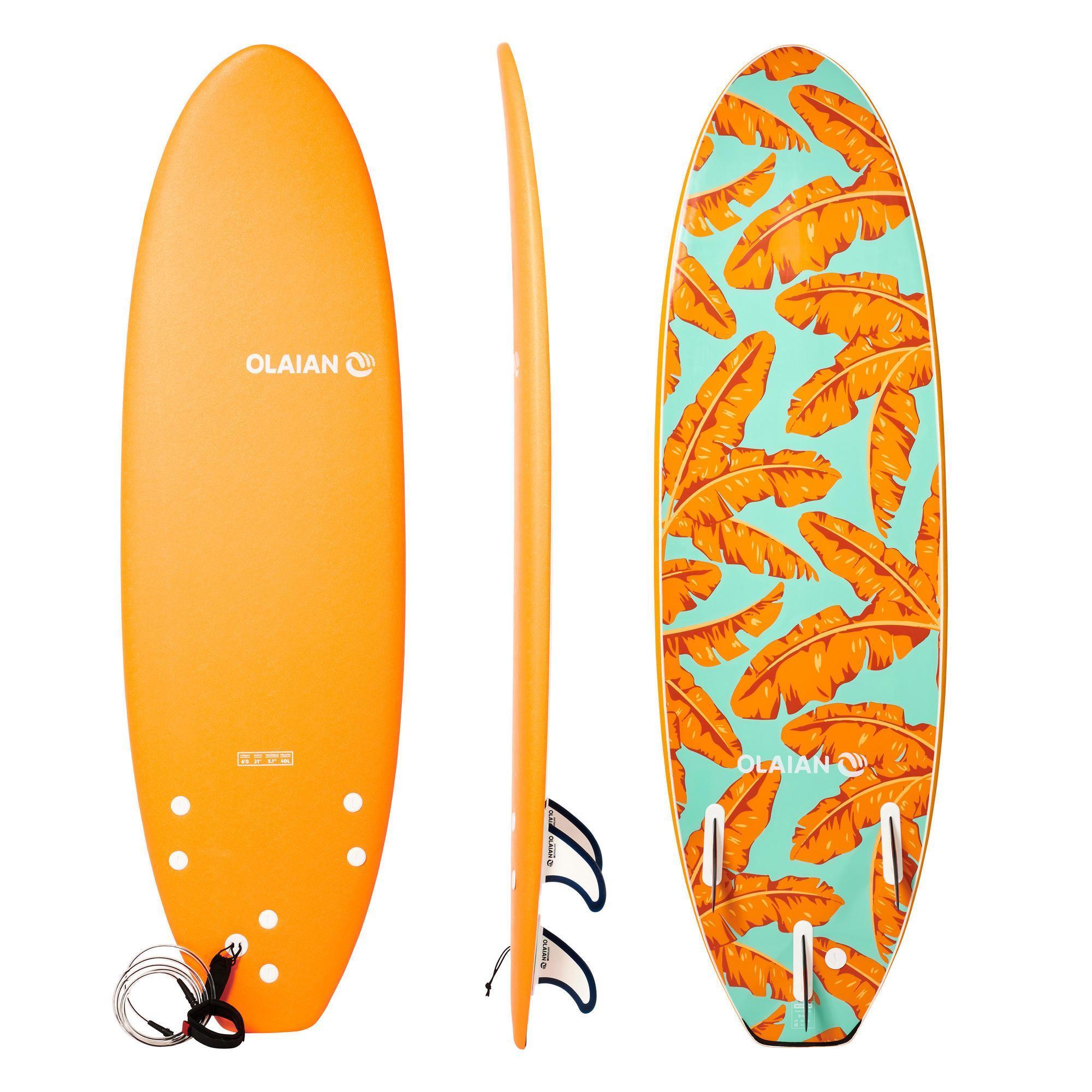 olaian tavola surf soft 500 6' con leash e 3 pinne