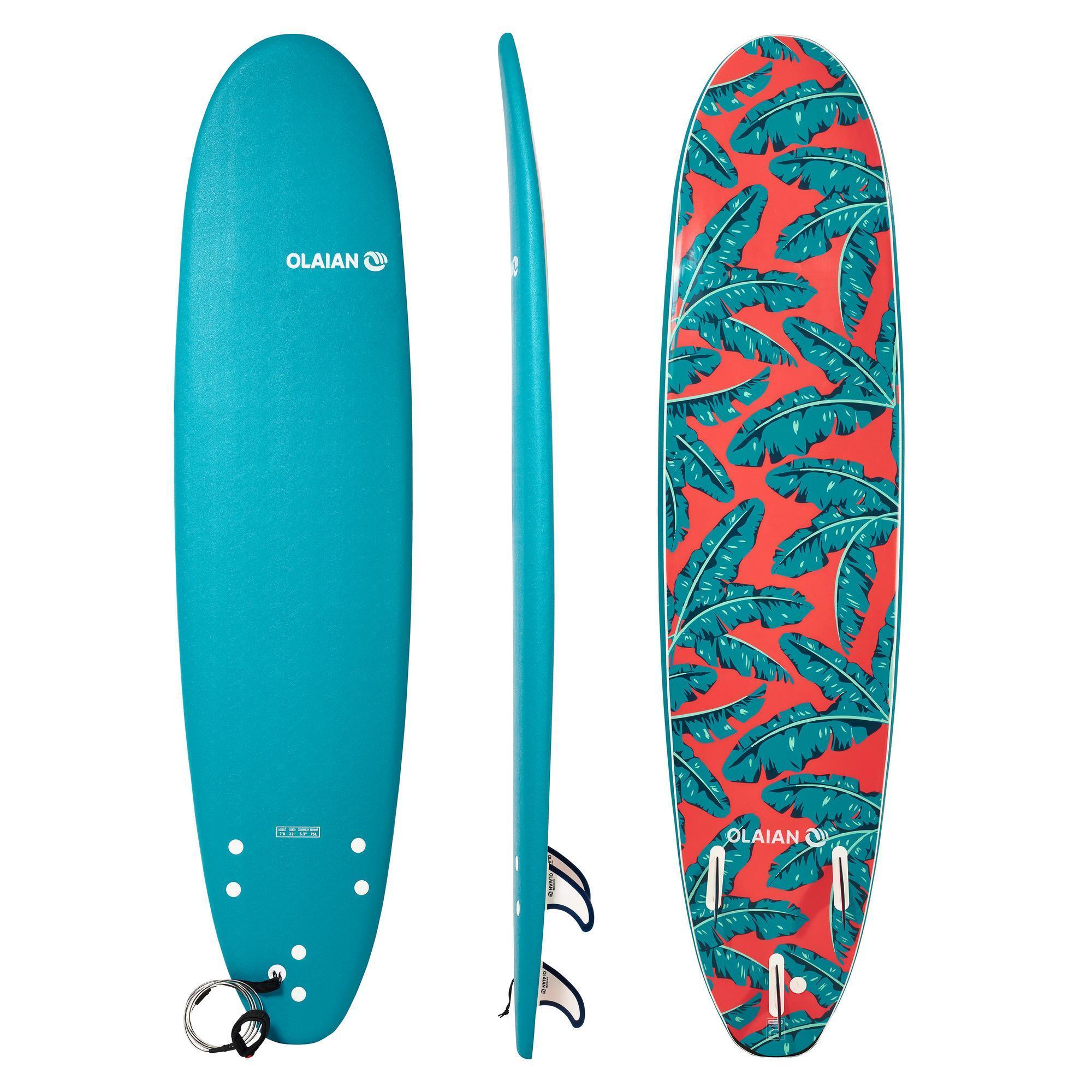 olaian tavola surf soft 500 7'8'' con leash e 3 pinne