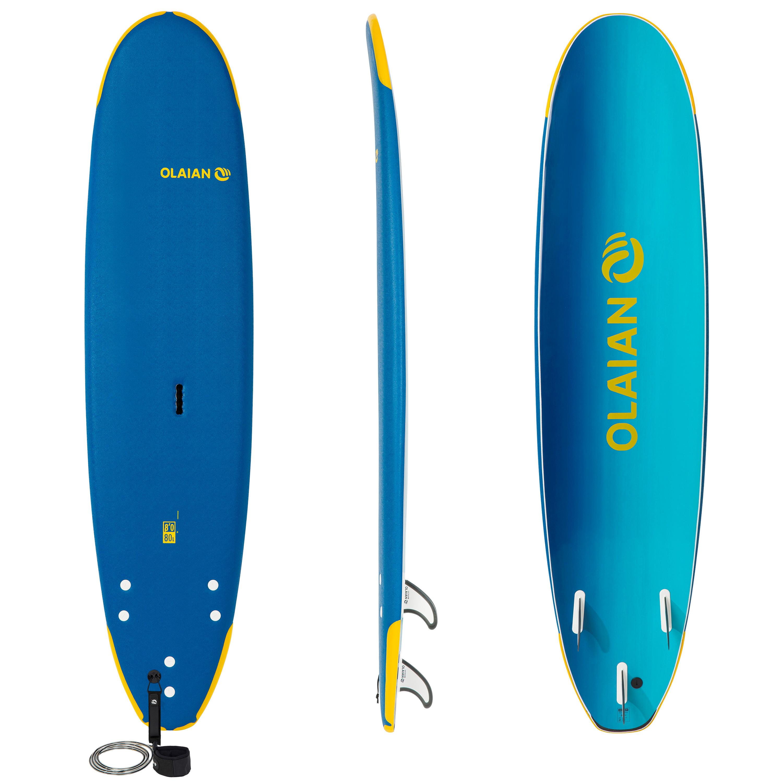 olaian tavola surf soft school 8' 500 1 leash e 3 pinne