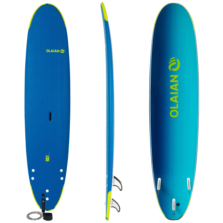 olaian tavola surf soft 500 8'6 leash e 3 pinne