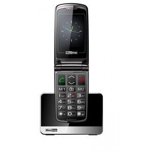 MaxCom MM 822 facile-to-Use Handy 2 G con tasto SOS (Display a colori, macchina fotografica, Caricabatteria da tavolo) Nero