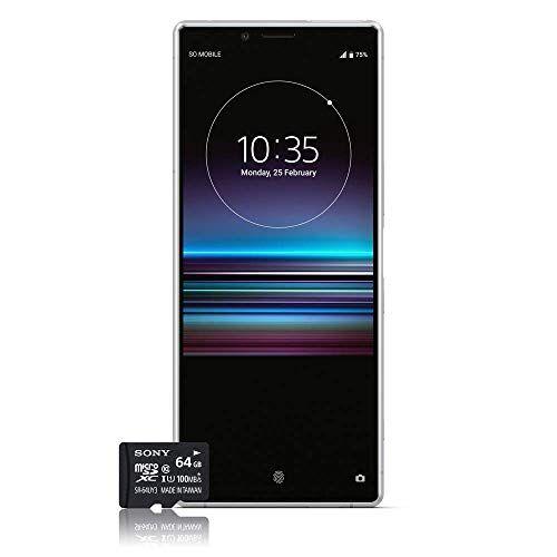 sony xperia 1 smartphone, 4k hdr oled display da 6,5 pollici, dual-sim, 128gb di memoria, 6 gb ram, android 9.0 + micro sd da 64 gb, bianco,esclusivo amazon [versione italiana]