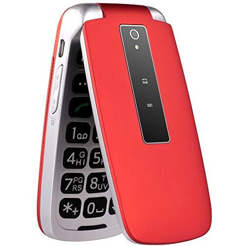 nordmende flip101 telefono cellulare, fotocamera, base di ricarica, torcia led, tasto sos, radio fm, display da 2.4, rosso [versione italiana]