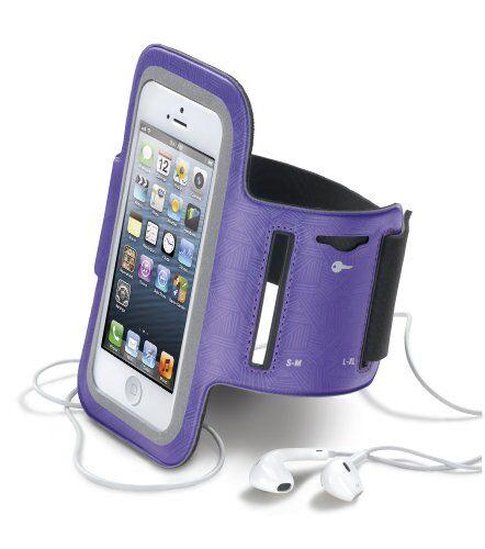 cellular line armband fascia da braccio elastica ultra comfort per iphone, viola