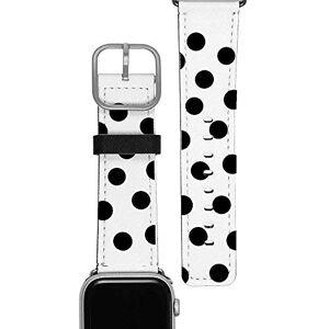 Gocase Black Circles - Cinturino di ricambio per Apple Watch 38/40 mm, chiusura regolabile, in pelle Saffiano, vegan, resistente all'acqua e al sudore, adatto per serie 1/2/3/4