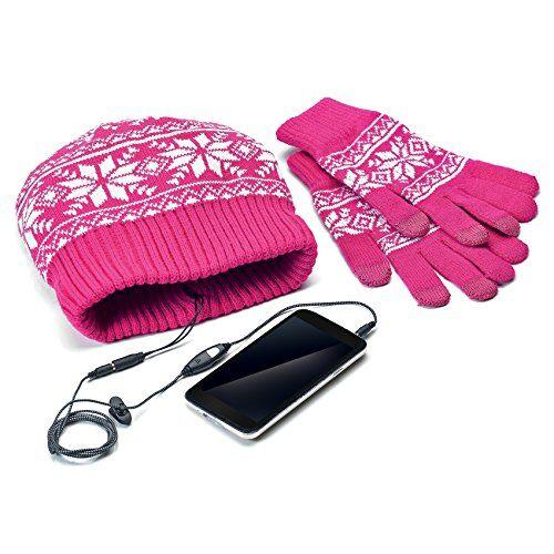 Celly Kit con Guanti Touchscreen e Cappello con Auricolari Integrati, Rosa