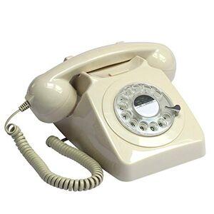 GPO 746 Rotary 1970s - Telefono fisso stile Retr - Cavo a spirale, Suoneria autentica - Avorio, confezione da 1