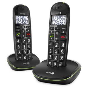 Doro PhoneEasy 110 Telefono Cordless per Anziani con Tasti Grandi e Audio Amplificato (X 2 / Nero)