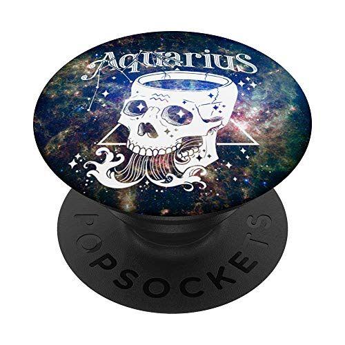 regalo di halloween di costellazioni dell'oroscopo blackcraft segno zodiacale acquario teschio congrega strega popsockets supporto e impugnatura per smartphone e tablet