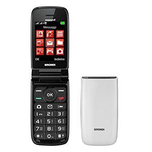 Brondi Magnum 4 Telefono Cellulare Maxi Display, Tastiera Fisica Retroilluminata, Dual Sim, 1.3 MP, Li-ion 800 mAh, Flip Attivo, Bianco