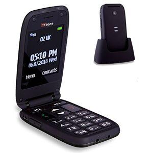 TTfone Meteor Telefono Cellulare a Conchiglia con Tasti Grandi, Nero