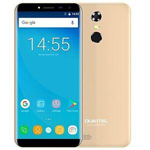 OUKITEL C8-5.5 pollici (rapporto 18: 9 visione completa) smartphone Android 7.0 3G, batteria 3000mAh, quad core da 1.3GHz 2GB di RAM 16GB ROM, Fotocamera da 5MP + 13MP, impronte digitali - Oro