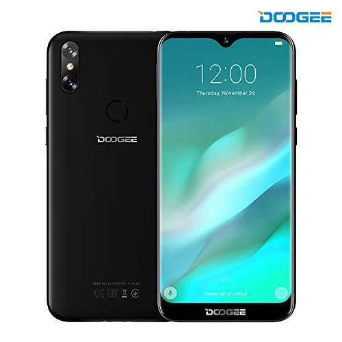 DOOGEE Smartphone in Offerta, DOOGEE Y8 Dual SIM Telefonia Mobile, 4G Smartphones AndroidTM 9, MT6739 Quad-Core, 6.1 Pollici 19:9 HD Schermo, 3GB RAM + 16GB ROM, 8.0MP+5.0MP Fotocamera, 3400mAh - Nero