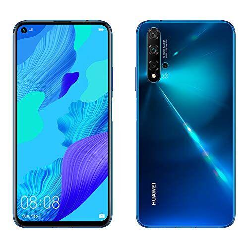 Huawei Smartphone Huawei Nova 5T - 6.26(6 GB RAM, 128 GB di memoria interna, fotocamera AI Five da 48 MP, display FullView, sensore di impronte digitali laterale, 3750 mAh) Dual-SIM, colore blu
