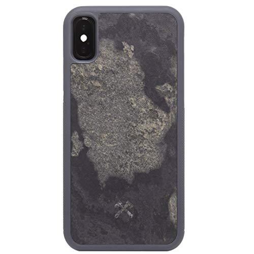 woodcessories - design custodia, cover compatibile con iphone x, xs in vera ardesia - ecobump stone (grigio granite)
