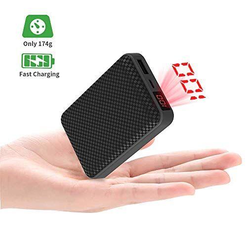 Grandbeing Mini Power Bank 10000 mah, Caricabatterie Portatile Batteria Esterna Cellulare con Porta di Uscita di 2.1A, Display a LED,Dimensione:3.6 x 2.4 x 0.8 in, per iPhone iPad Huawei Samsung Xiaomi