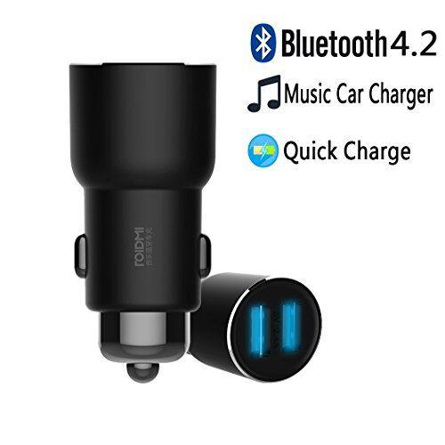 OLLIVAN Caricabatterie Auto, RoidMi 3S Universale 2-Porte USB Caricabatteria da Auto Quick Charge 2.4A Supporta Bluetooth Smartphone Android per iPhone 7 6s Plus iPad, Tablet,Samsung (3S Nero)