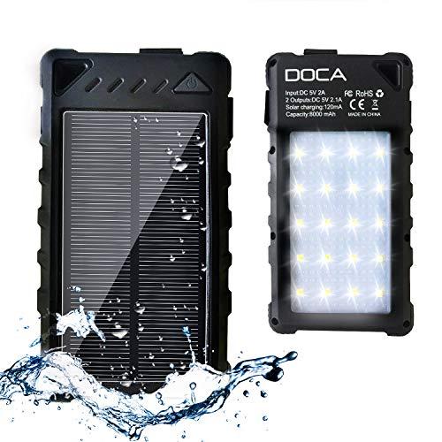 doca caricabatterie a energia solare batteria supplementare power bank impermeabile 8000mah dual usb