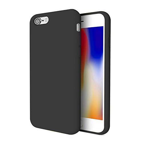"""TBOC Cover per Apple iPhone SE (2020) [4.7""""]- Custodia Rigida [Nera] Silicone Liquido Premium [Sensazione Morbida] Fodera Interna Microfibra [Protegge Fotocamera] Antiscivole Resistente Graffi"""