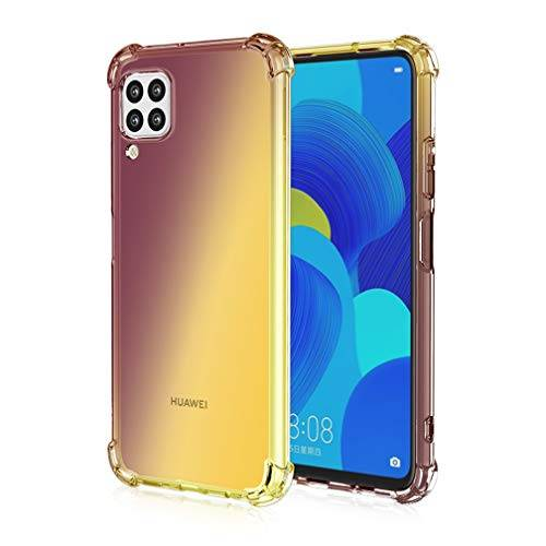HAOYE Cover per Huawei P40 Lite Cover, Custodia in TPU a Gradiente Colori, [Rinforzare la con Quattro Angoli] Custodia Trasparente Silicone Morbida TPU Ultra Sottile Case (Oro Nero)
