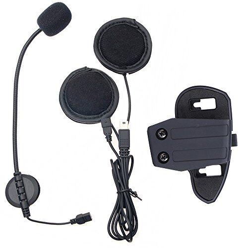 sconosciuto 2016aggiornato v8citofono accessori auricolare microfono e clip tuta per v8bt moto interfono casco bluetooth citofono